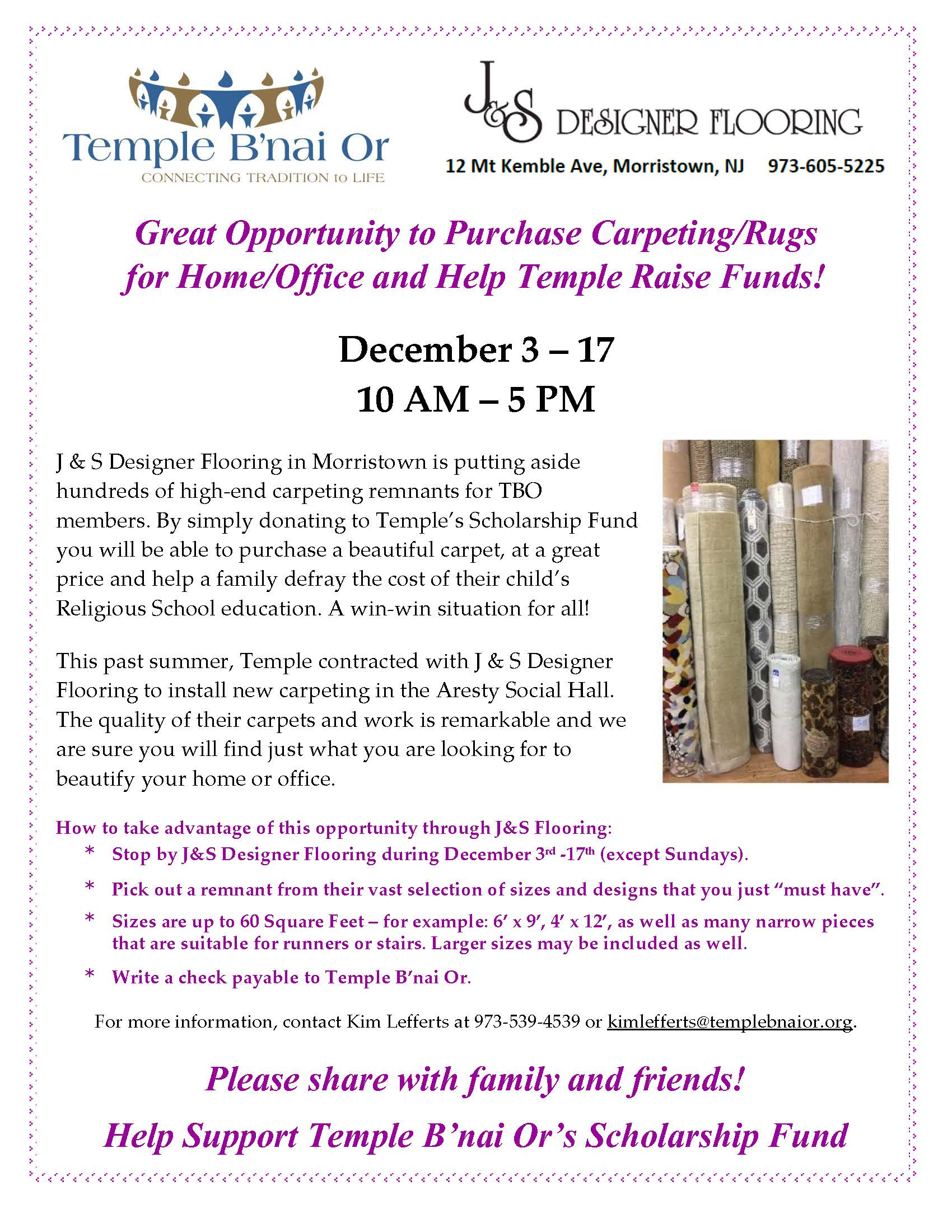 J S Designer Flooring Sale (2) | Temple B'nai Or | Morristown, NJ